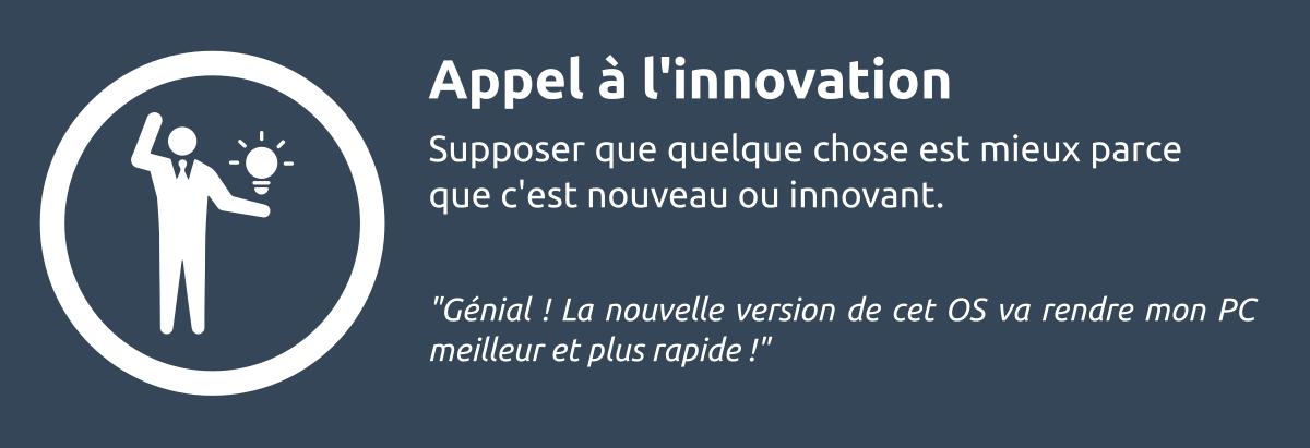 Sophisme - Appel à l'innovation'